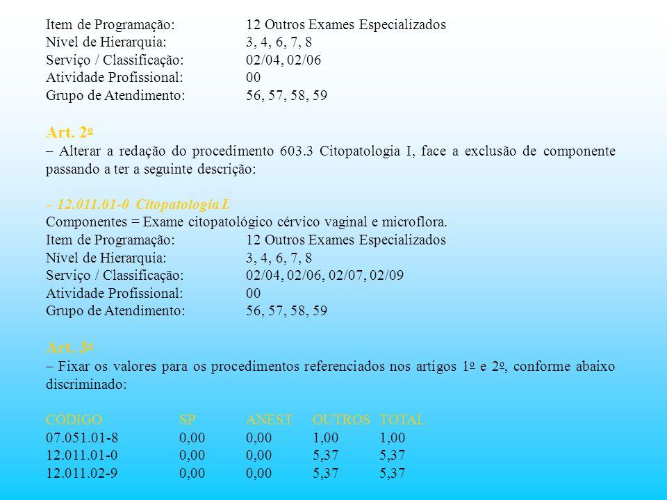 Art. 2o Art. 3o Item de Programação: 12 Outros Exames Especializados