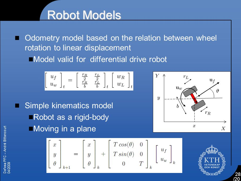 Robot Models Odometry model based on the relation between wheel rotation to linear displacement. Model valid for differential drive robot.