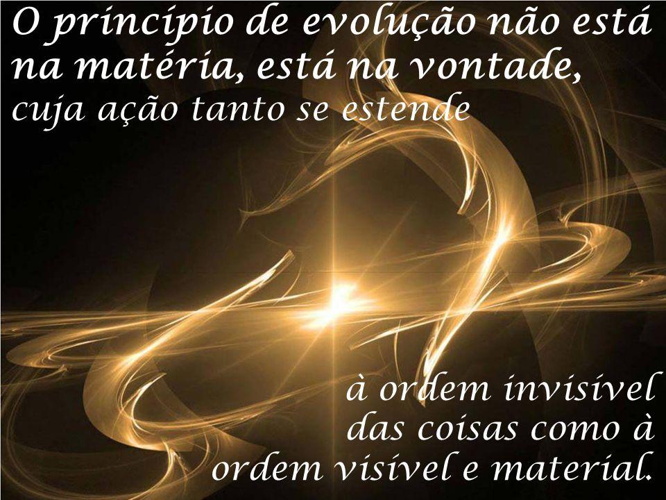 O princípio de evolução não está na matéria, está na vontade, cuja ação tanto se estende