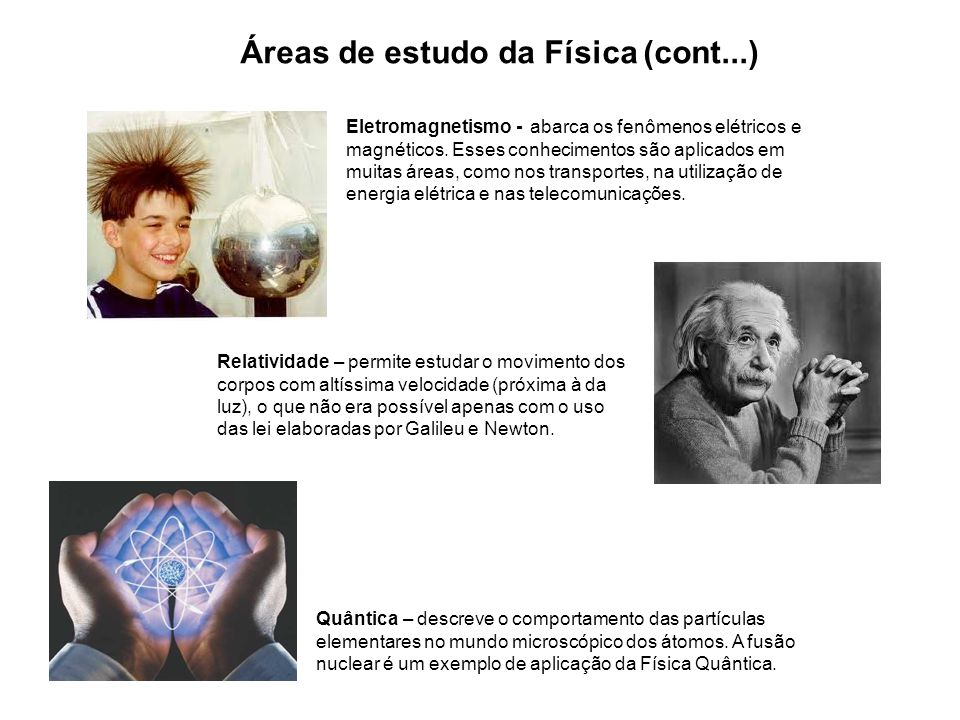 Áreas de estudo da Física (cont...)