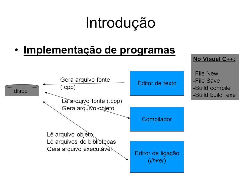 Introdução Implementação de programas No Visual C++: File New