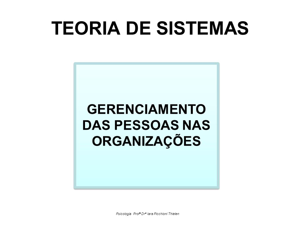 GERENCIAMENTO DAS PESSOAS NAS ORGANIZAÇÕES