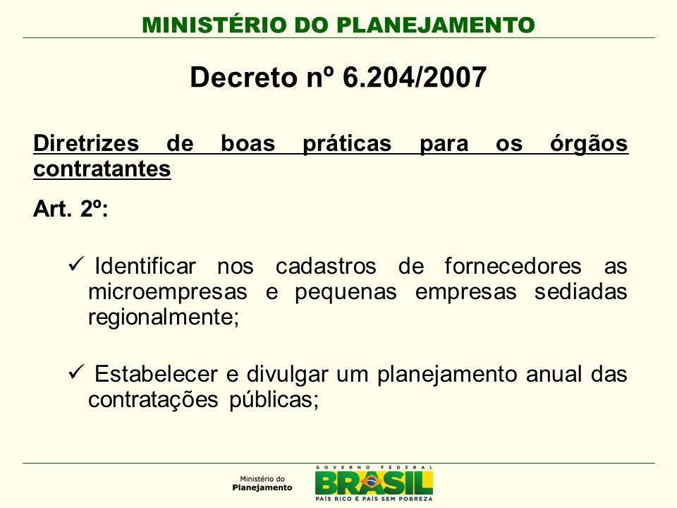 Decreto nº 6.204/2007 Diretrizes de boas práticas para os órgãos contratantes. Art. 2º: