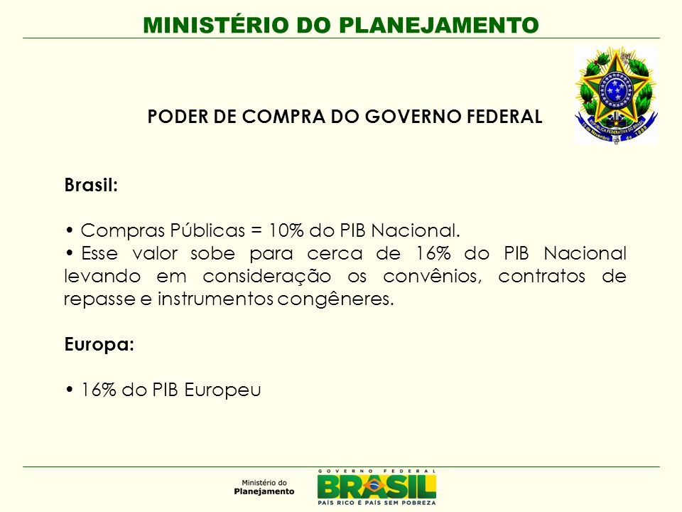 PODER DE COMPRA DO GOVERNO FEDERAL