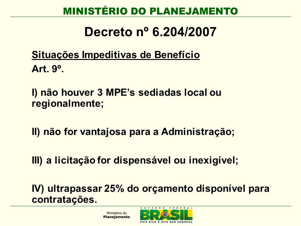 Decreto nº 6.204/2007 Situações Impeditivas de Benefício Art. 9º.