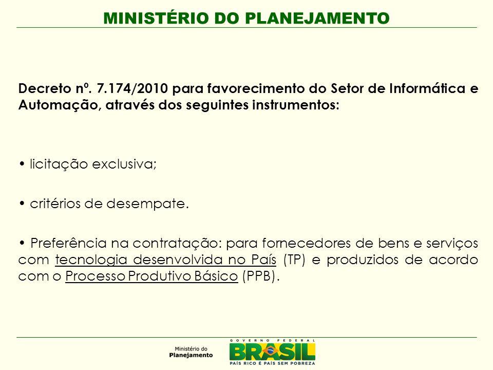 Decreto nº. 7.174/2010 para favorecimento do Setor de Informática e Automação, através dos seguintes instrumentos: