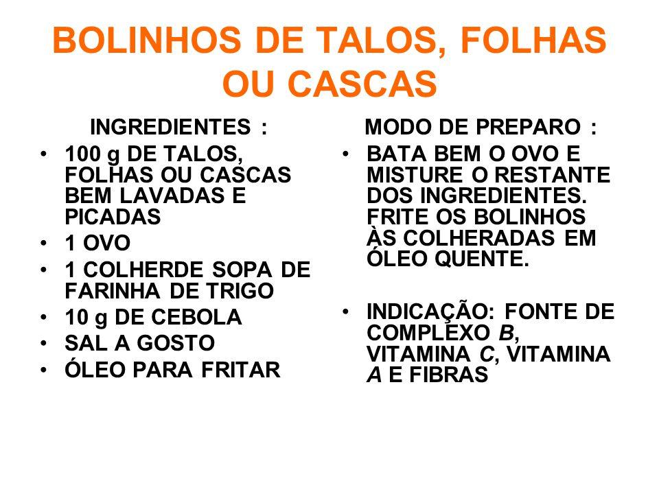 BOLINHOS DE TALOS, FOLHAS OU CASCAS