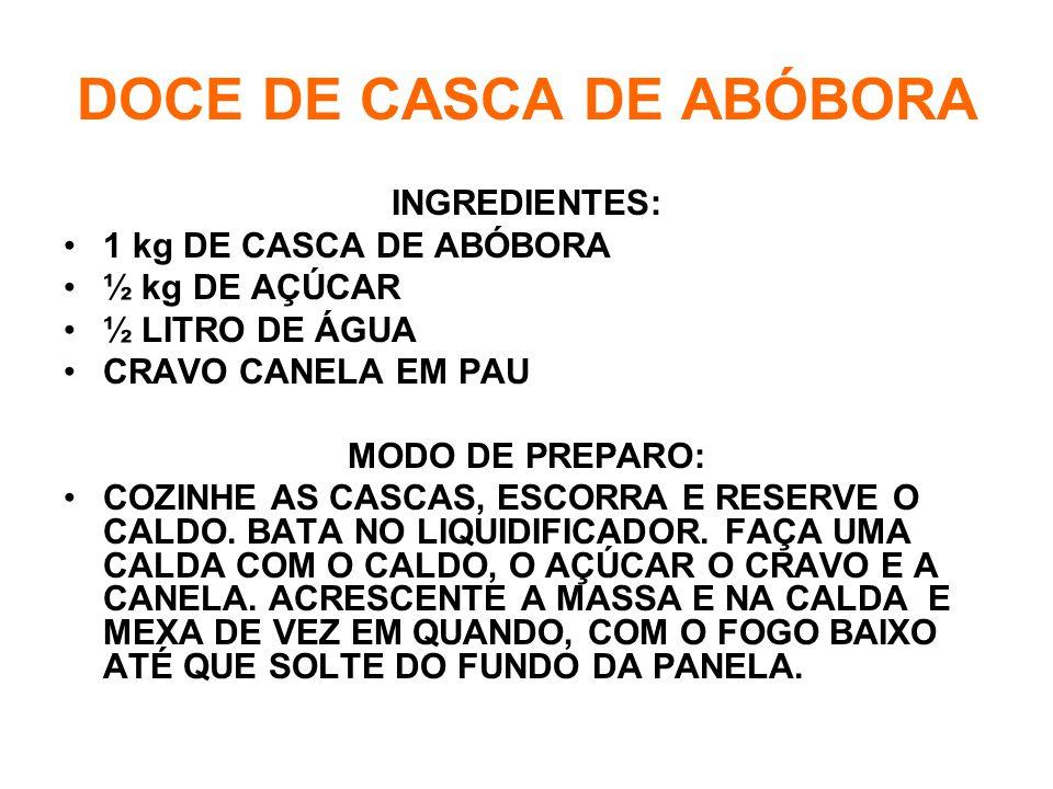 DOCE DE CASCA DE ABÓBORA