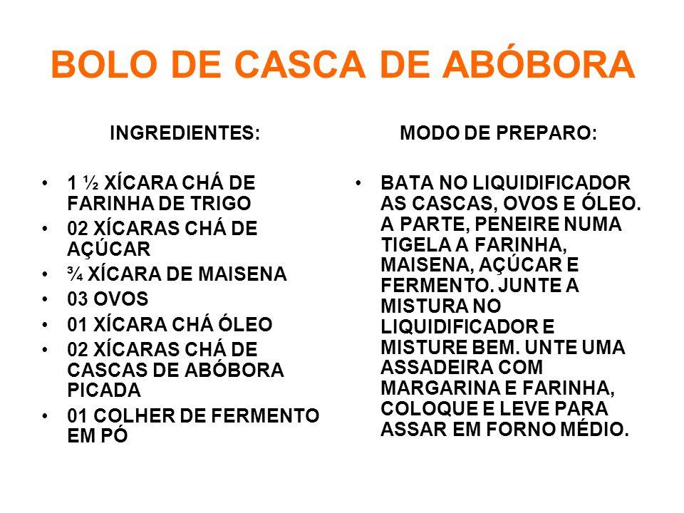 BOLO DE CASCA DE ABÓBORA