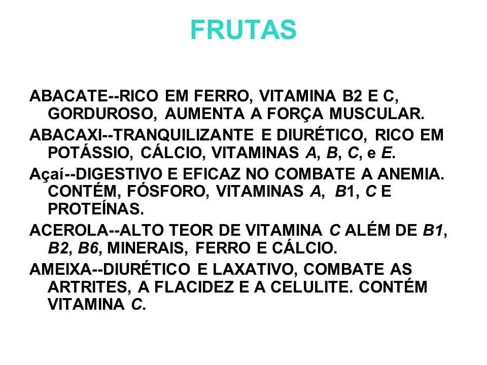 FRUTAS ABACATE--RICO EM FERRO, VITAMINA B2 E C, GORDUROSO, AUMENTA A FORÇA MUSCULAR.