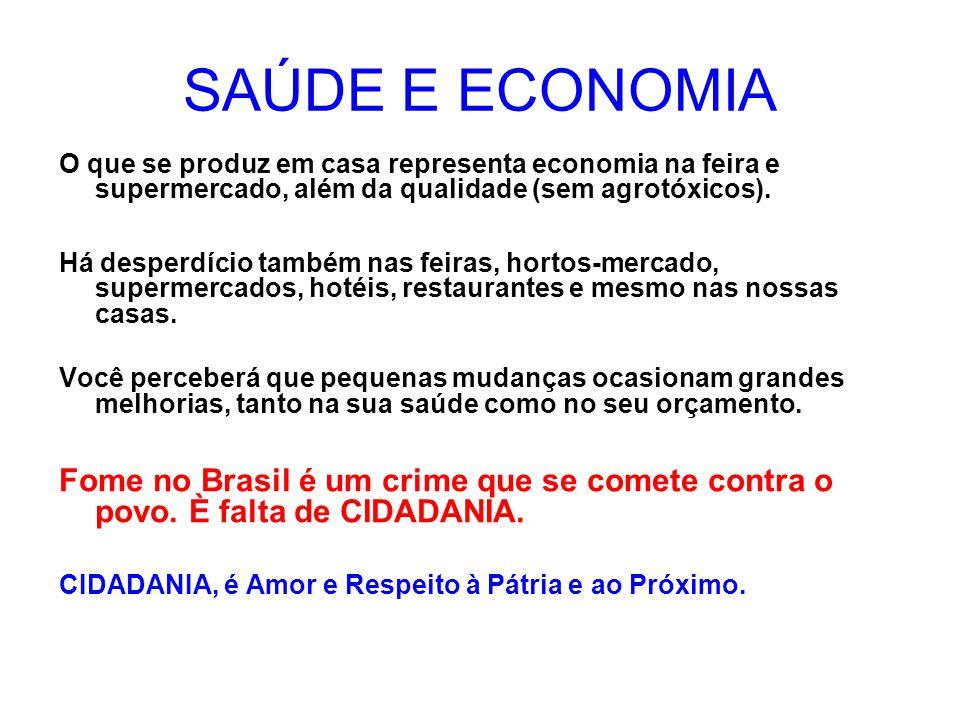 SAÚDE E ECONOMIA O que se produz em casa representa economia na feira e supermercado, além da qualidade (sem agrotóxicos).