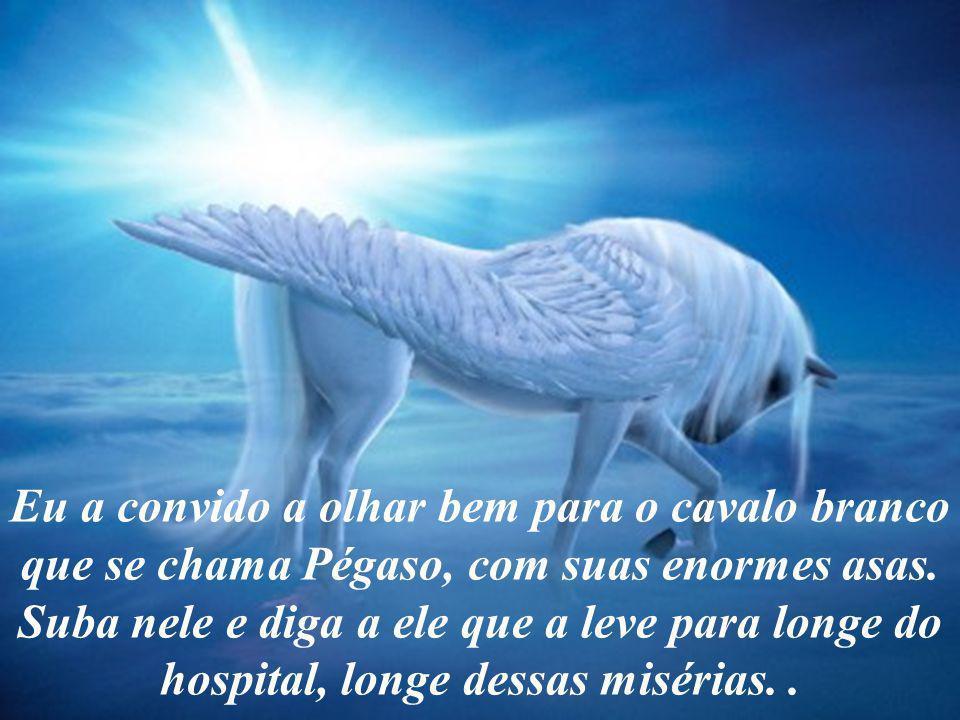 Eu a convido a olhar bem para o cavalo branco que se chama Pégaso, com suas enormes asas.