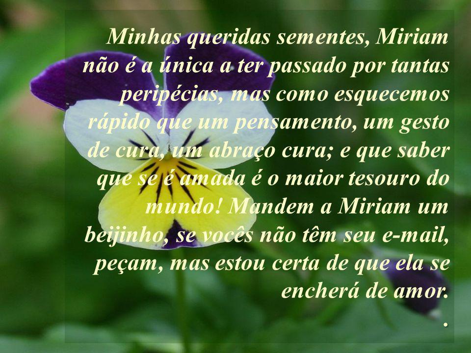 Minhas queridas sementes, Miriam não é a única a ter passado por tantas peripécias, mas como esquecemos rápido que um pensamento, um gesto de cura, um abraço cura; e que saber que se é amada é o maior tesouro do mundo.