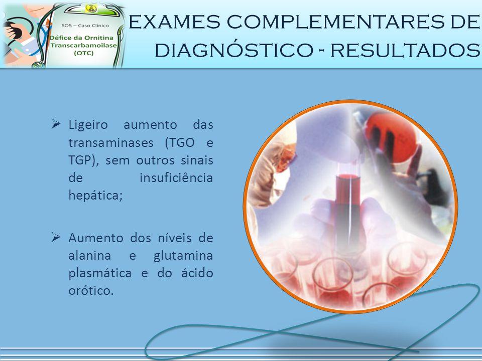 exames complementares de diagnóstico - resultados
