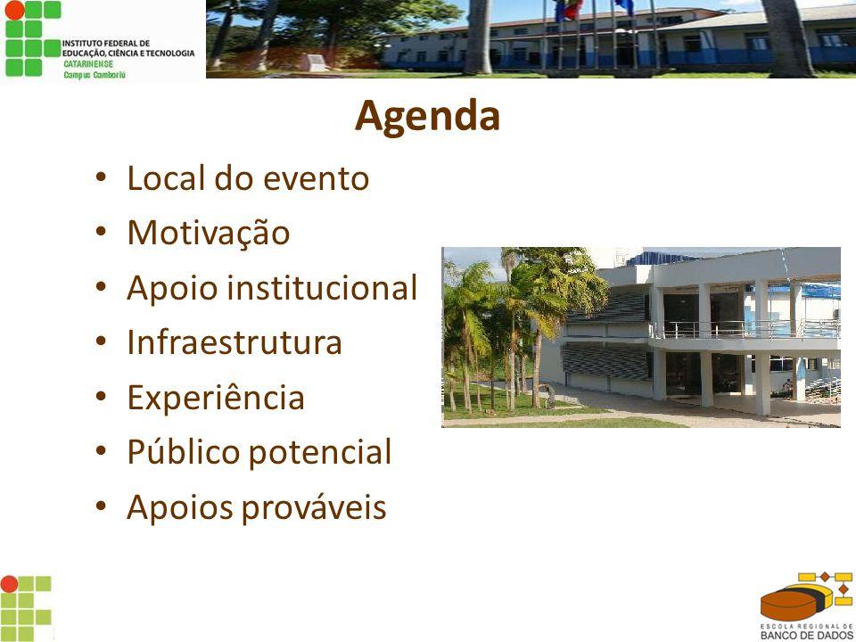 Agenda Local do evento Motivação Apoio institucional Infraestrutura