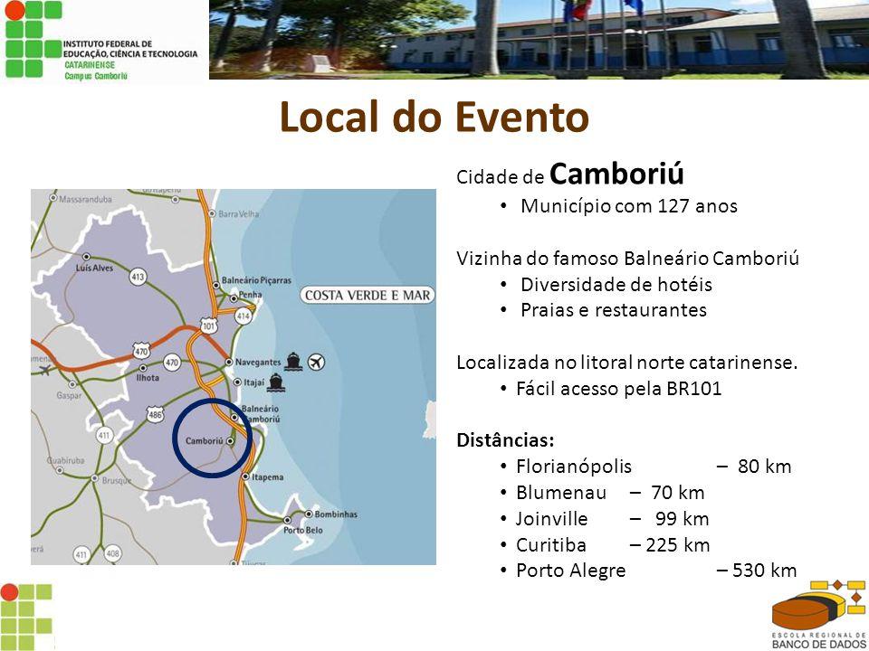 Local do Evento Cidade de Camboriú Município com 127 anos