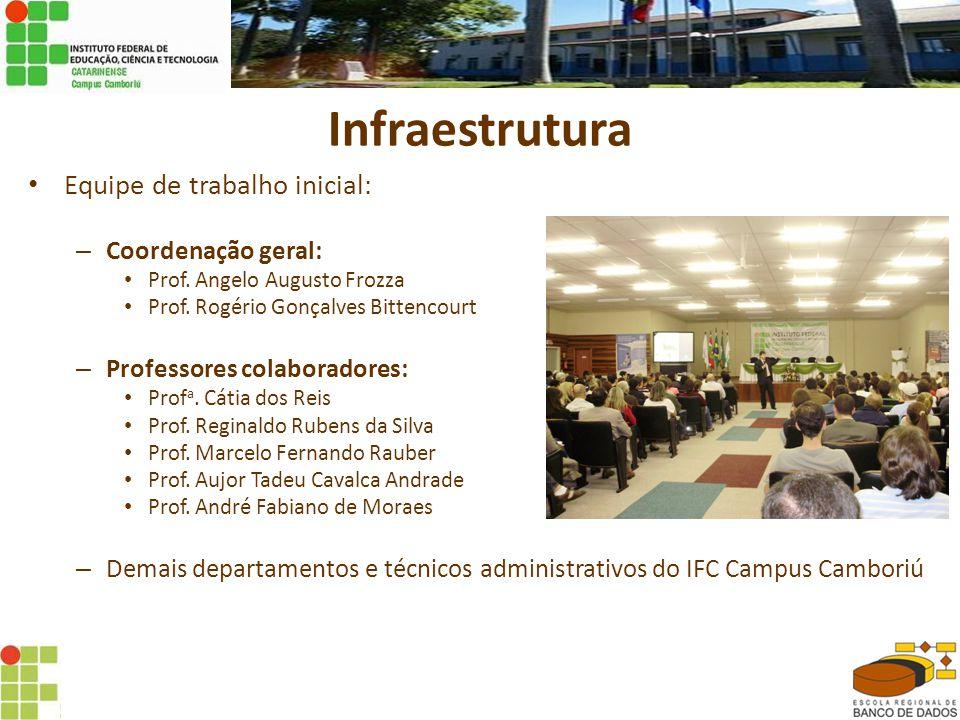 Infraestrutura Equipe de trabalho inicial: Coordenação geral: