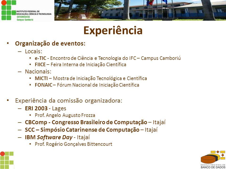 Experiência Organização de eventos: