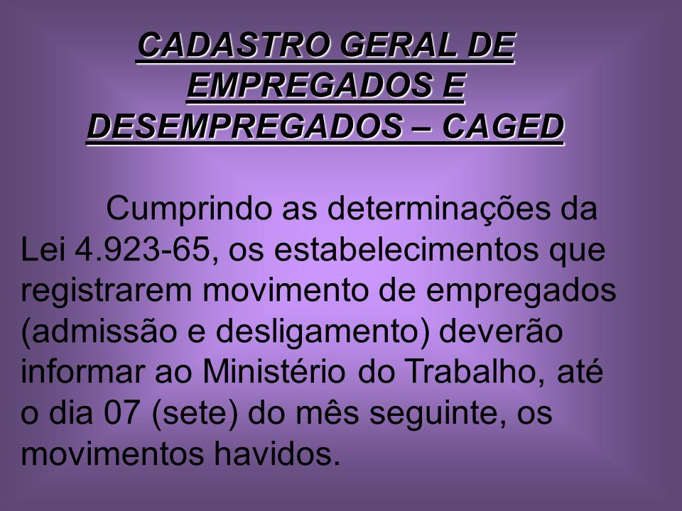 CADASTRO GERAL DE EMPREGADOS E