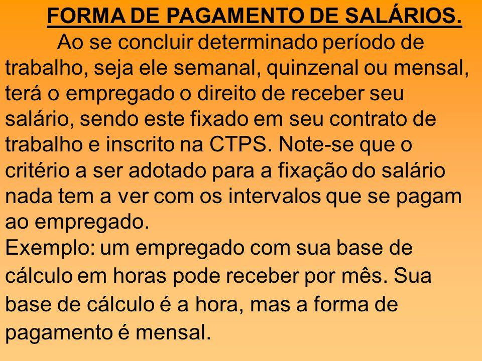 FORMA DE PAGAMENTO DE SALÁRIOS.