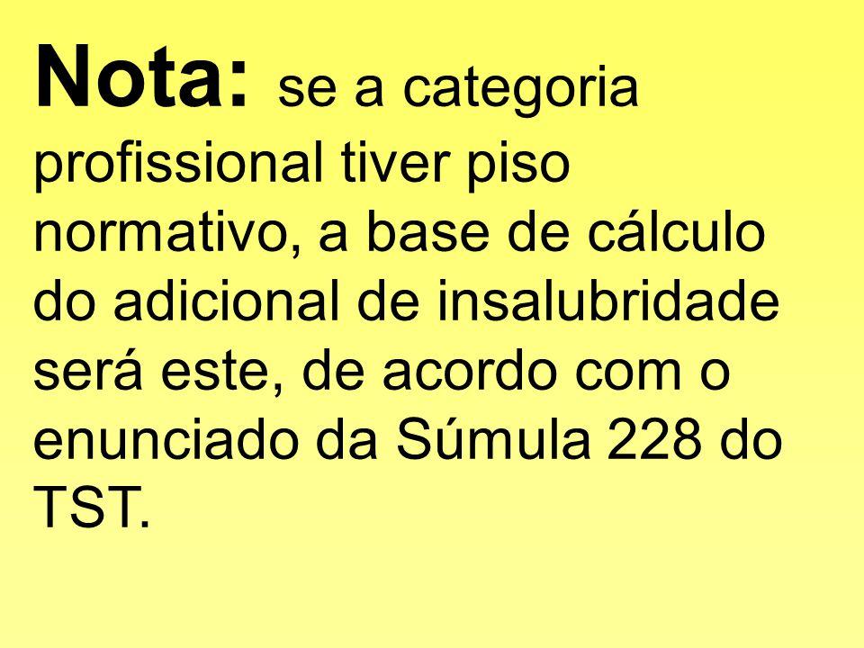 Nota: se a categoria profissional tiver piso normativo, a base de cálculo do adicional de insalubridade será este, de acordo com o enunciado da Súmula 228 do TST.