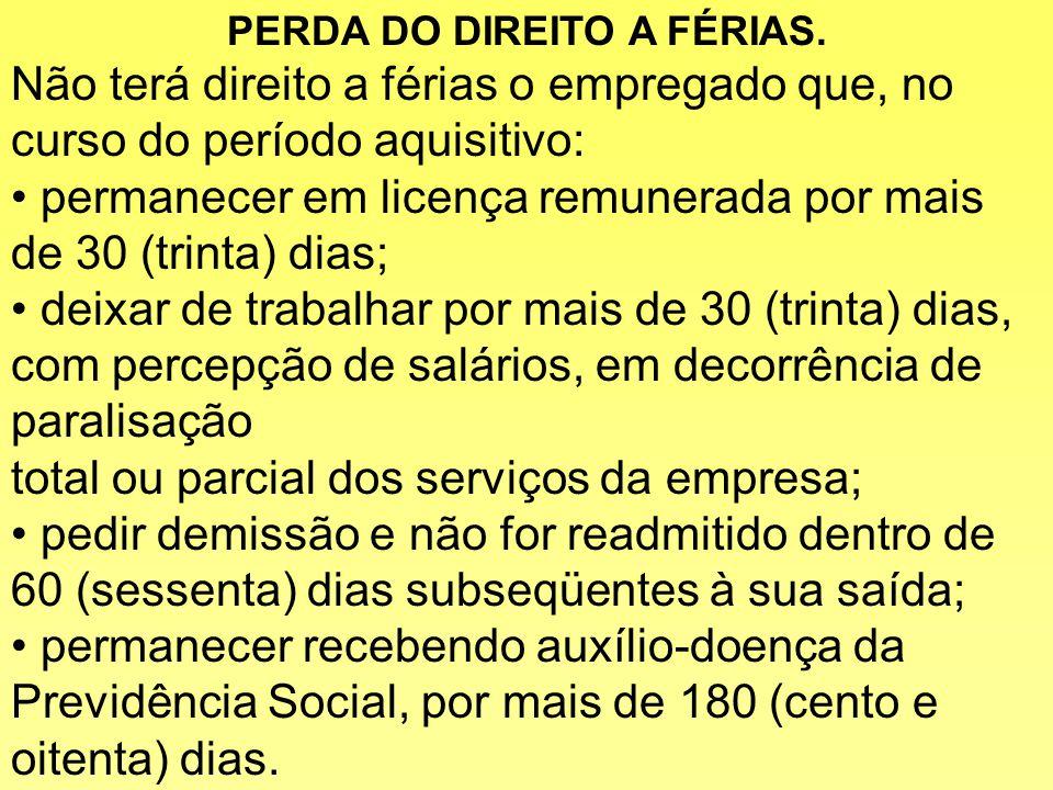 PERDA DO DIREITO A FÉRIAS.
