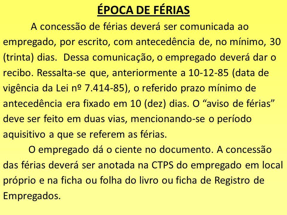 ÉPOCA DE FÉRIAS