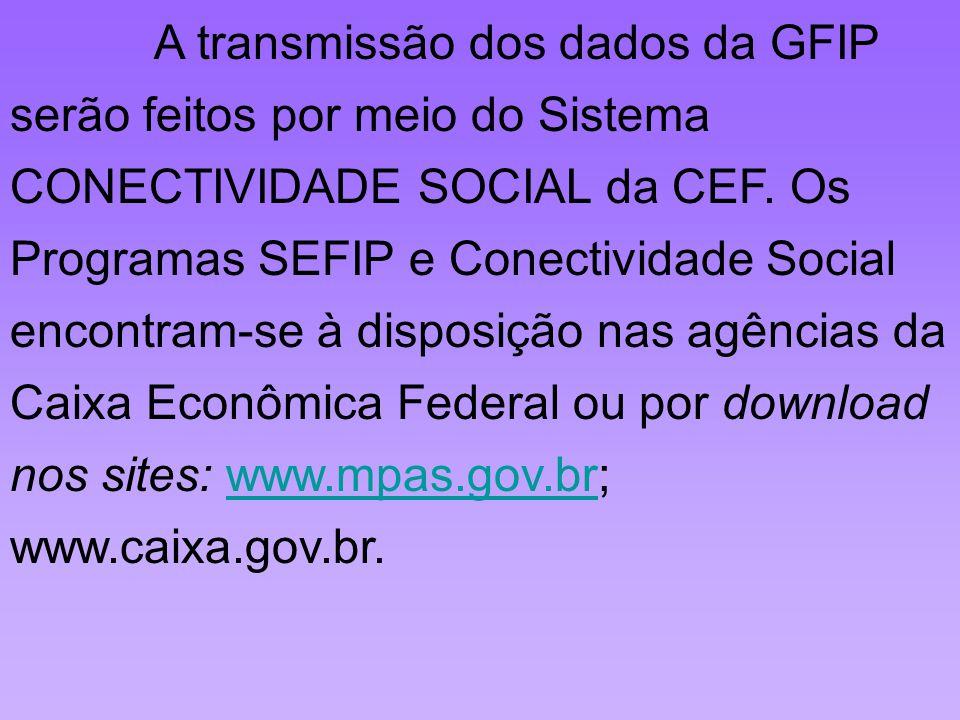 A transmissão dos dados da GFIP serão feitos por meio do Sistema CONECTIVIDADE SOCIAL da CEF.