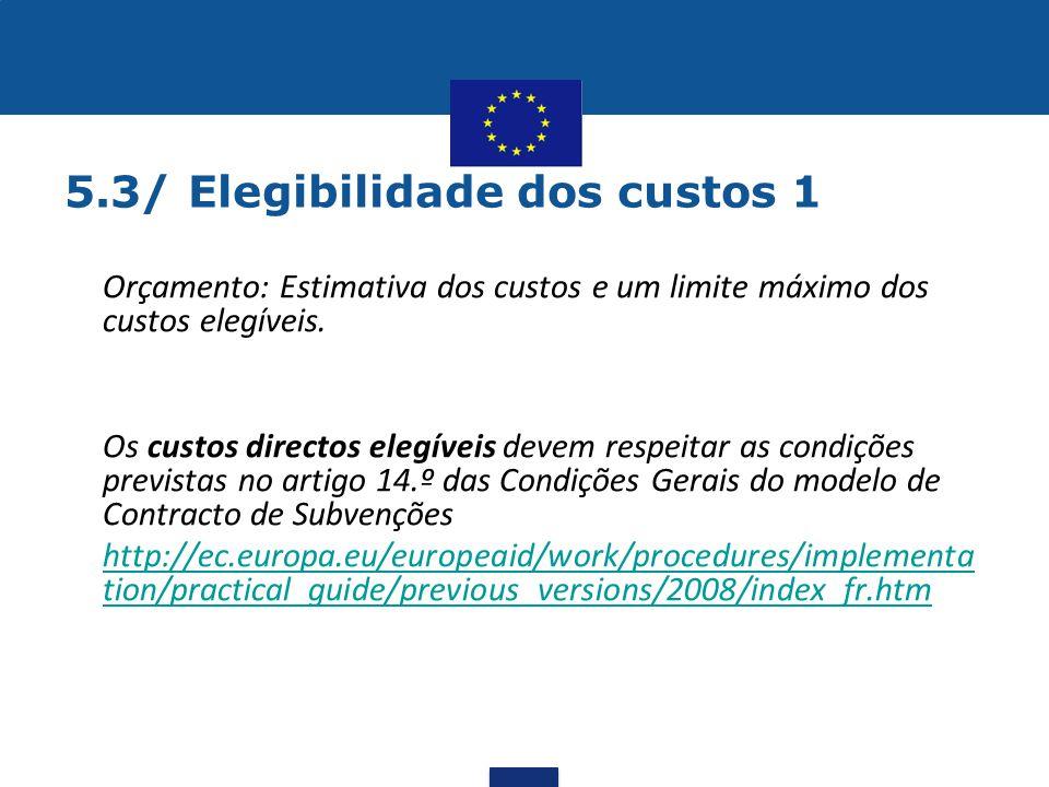 5.3/ Elegibilidade dos custos 1