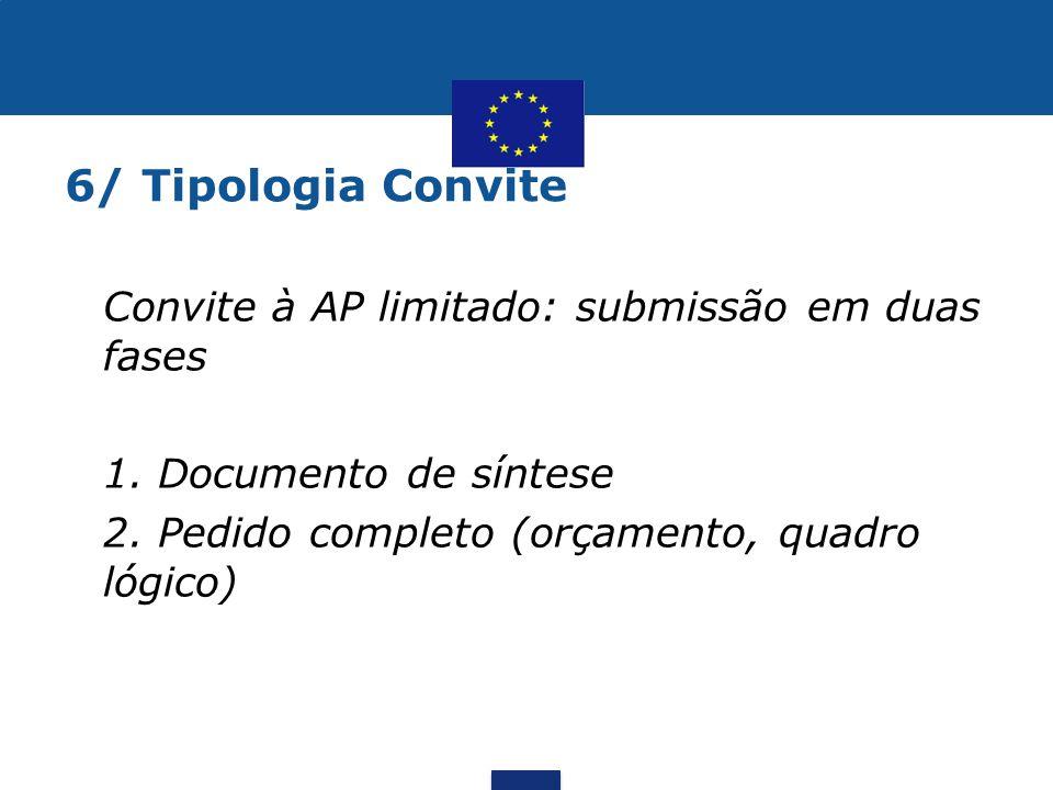 6/ Tipologia Convite Convite à AP limitado: submissão em duas fases