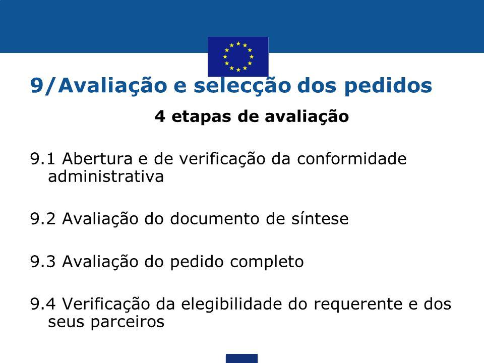 9/Avaliação e selecção dos pedidos