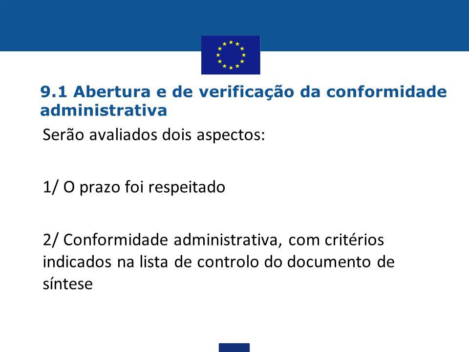 9.1 Abertura e de verificação da conformidade administrativa