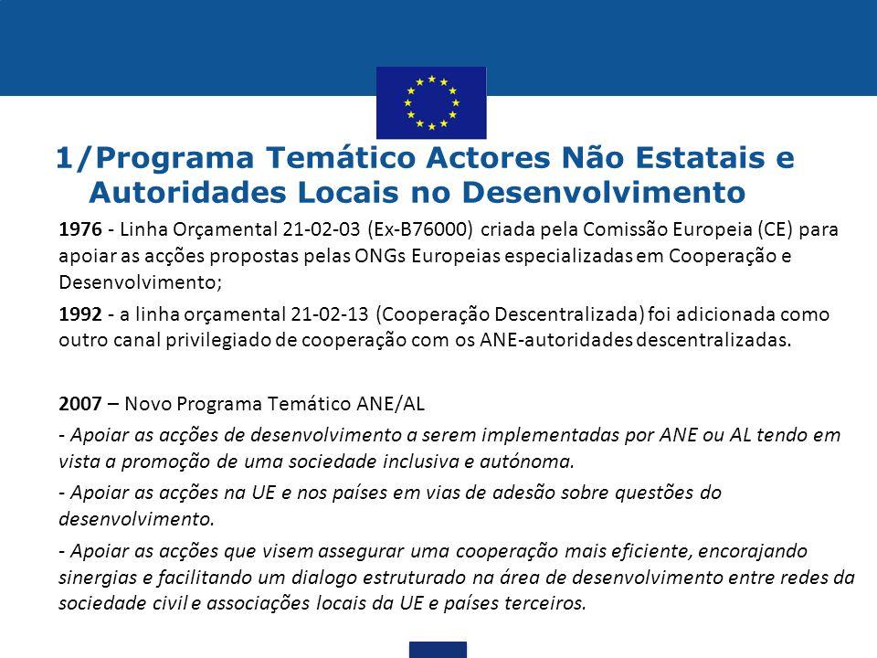 1/Programa Temático Actores Não Estatais e Autoridades Locais no Desenvolvimento
