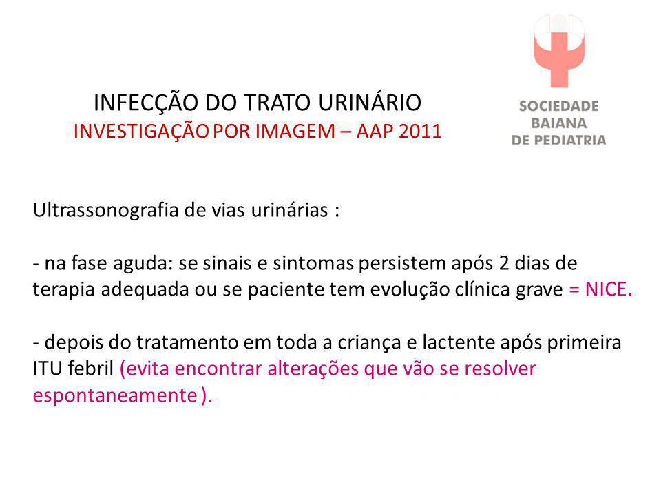INFECÇÃO DO TRATO URINÁRIO INVESTIGAÇÃO POR IMAGEM – AAP 2011