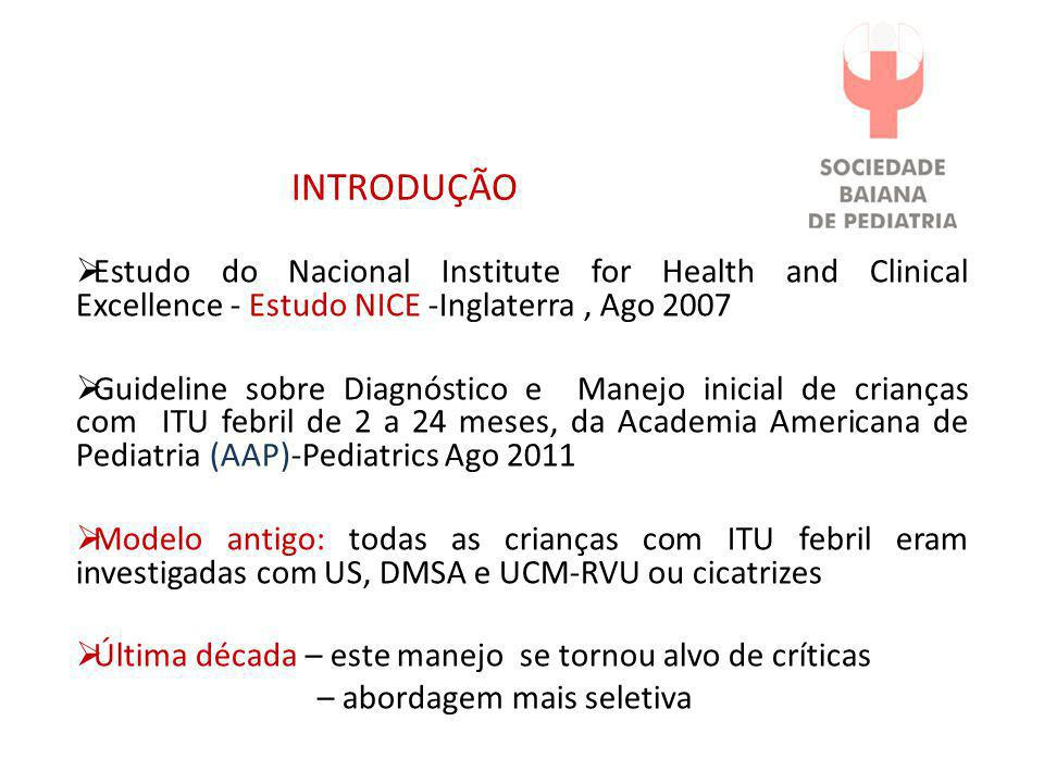 INTRODUÇÃO Estudo do Nacional Institute for Health and Clinical Excellence - Estudo NICE -Inglaterra , Ago 2007.