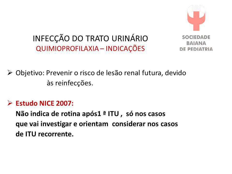 INFECÇÃO DO TRATO URINÁRIO QUIMIOPROFILAXIA – INDICAÇÕES