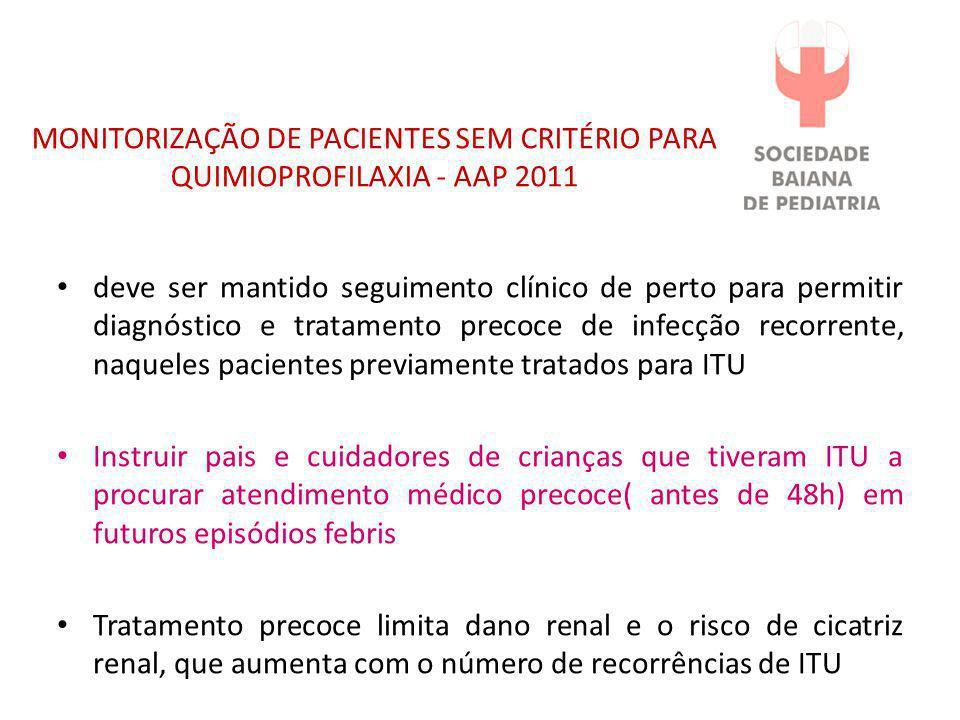 MONITORIZAÇÃO DE PACIENTES SEM CRITÉRIO PARA QUIMIOPROFILAXIA - AAP 2011
