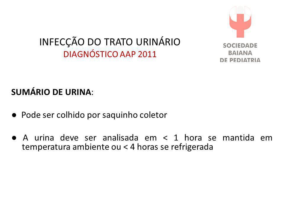 INFECÇÃO DO TRATO URINÁRIO DIAGNÓSTICO AAP 2011