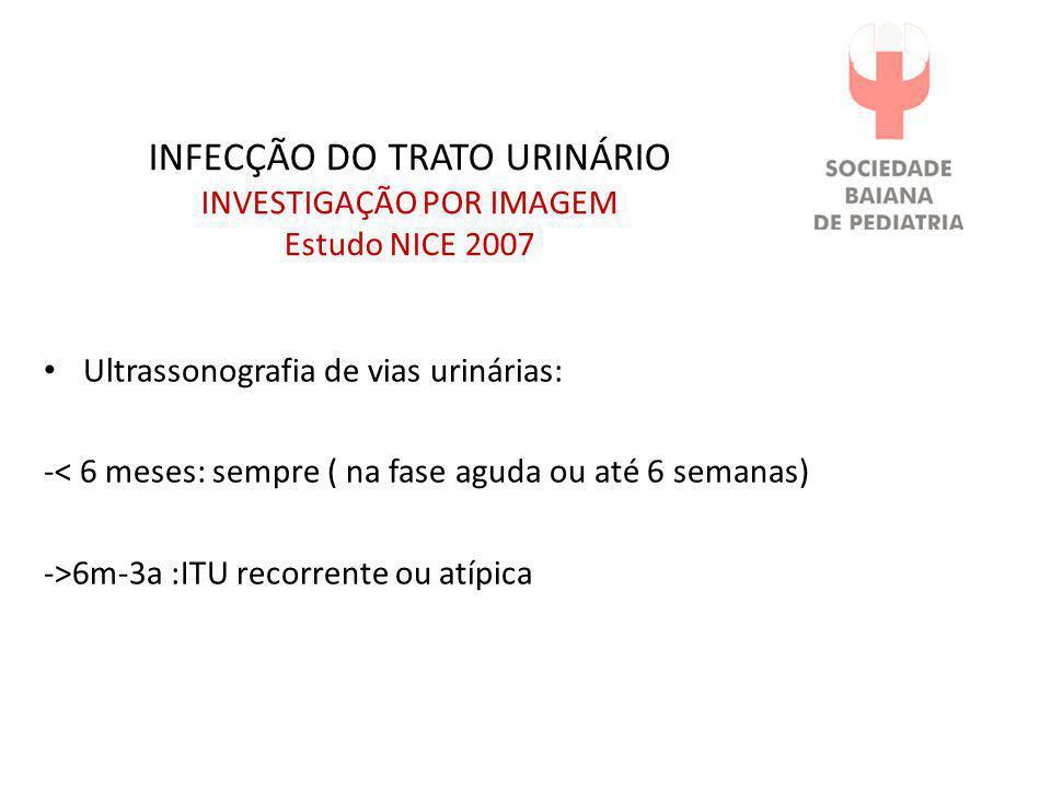 INFECÇÃO DO TRATO URINÁRIO INVESTIGAÇÃO POR IMAGEM Estudo NICE 2007