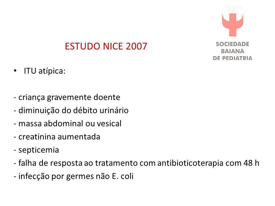 ESTUDO NICE 2007 ITU atípica: - criança gravemente doente
