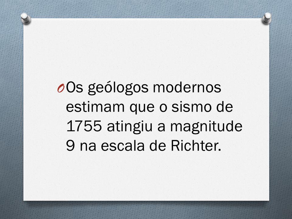 Os geólogos modernos estimam que o sismo de 1755 atingiu a magnitude 9 na escala de Richter.