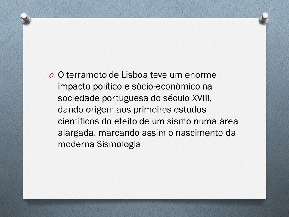 O terramoto de Lisboa teve um enorme impacto político e sócio-económico na sociedade portuguesa do século XVIII, dando origem aos primeiros estudos científicos do efeito de um sismo numa área alargada, marcando assim o nascimento da moderna Sismologia