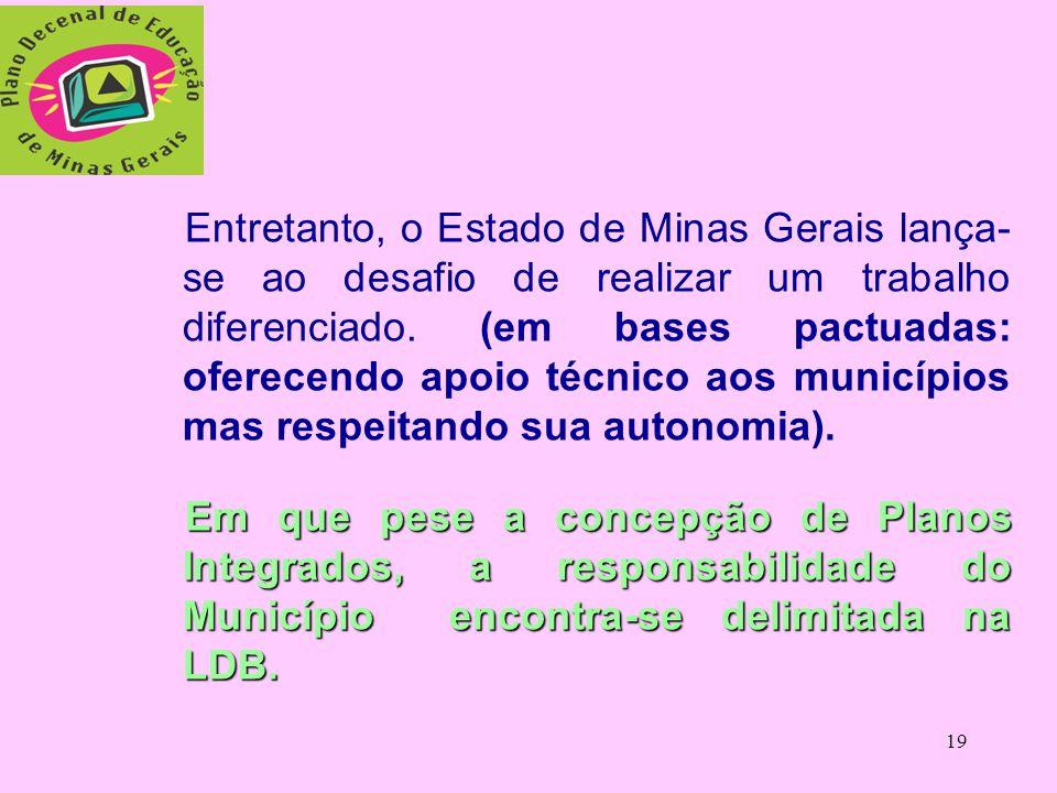 Entretanto, o Estado de Minas Gerais lança-se ao desafio de realizar um trabalho diferenciado. (em bases pactuadas: oferecendo apoio técnico aos municípios mas respeitando sua autonomia).