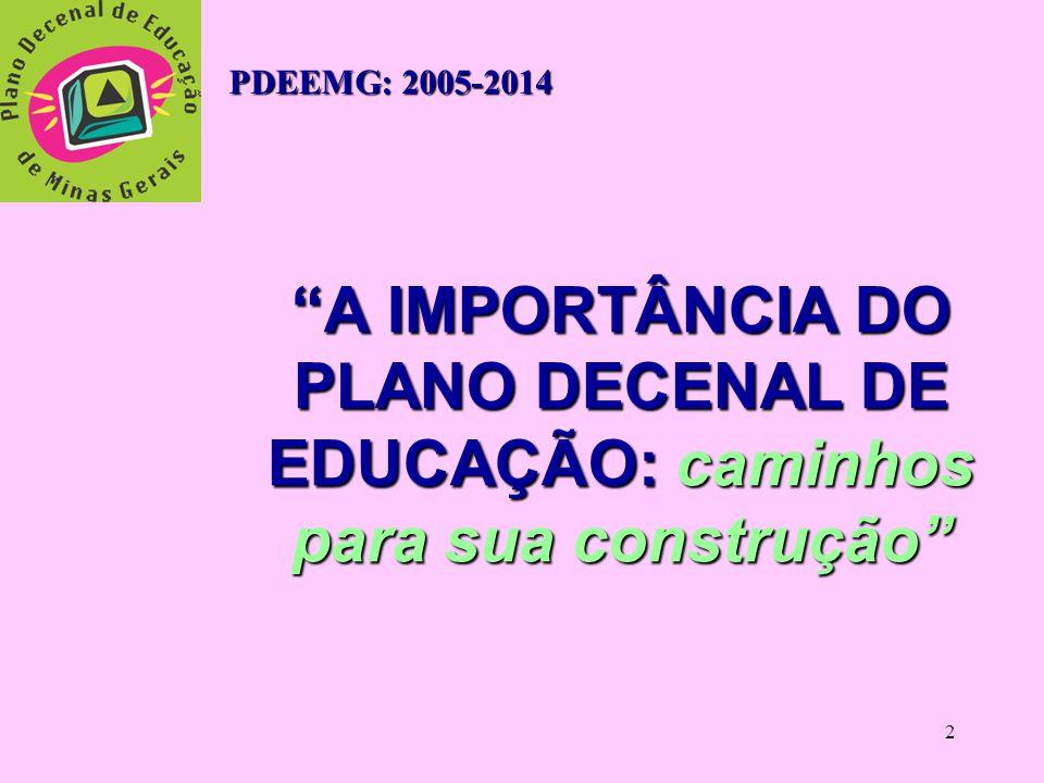 PDEEMG: 2005-2014 A IMPORTÂNCIA DO PLANO DECENAL DE EDUCAÇÃO: caminhos para sua construção