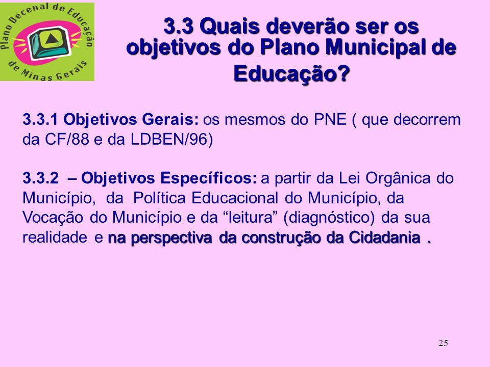 3.3 Quais deverão ser os objetivos do Plano Municipal de Educação