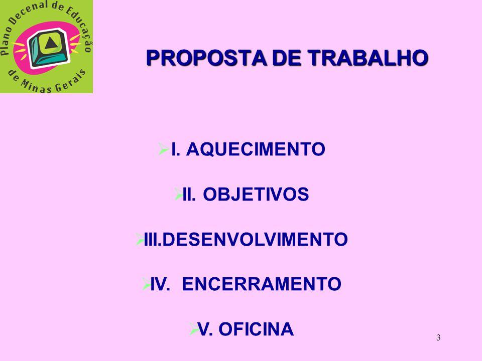 PROPOSTA DE TRABALHO I. AQUECIMENTO II. OBJETIVOS III.DESENVOLVIMENTO