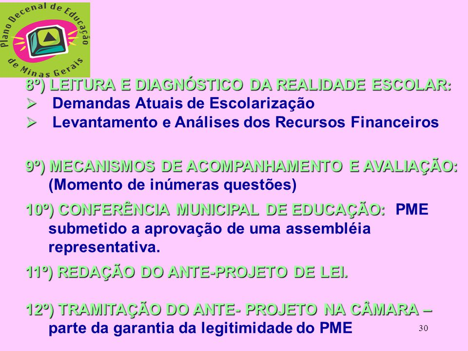 8º) LEITURA E DIAGNÓSTICO DA REALIDADE ESCOLAR:
