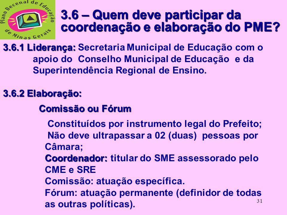 3.6 – Quem deve participar da coordenação e elaboração do PME