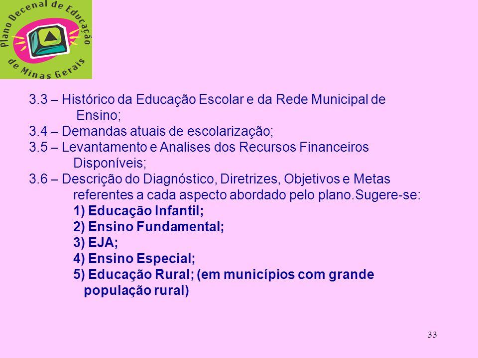 3.3 – Histórico da Educação Escolar e da Rede Municipal de