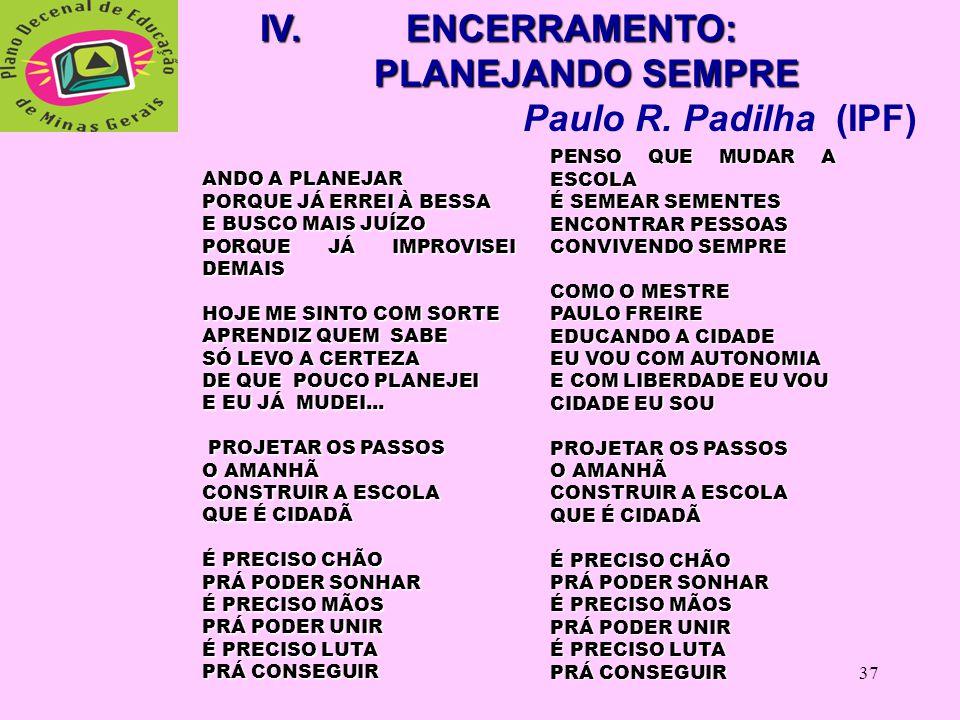 IV. ENCERRAMENTO: PLANEJANDO SEMPRE Paulo R. Padilha (IPF)